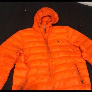 Orange polo bubble coat